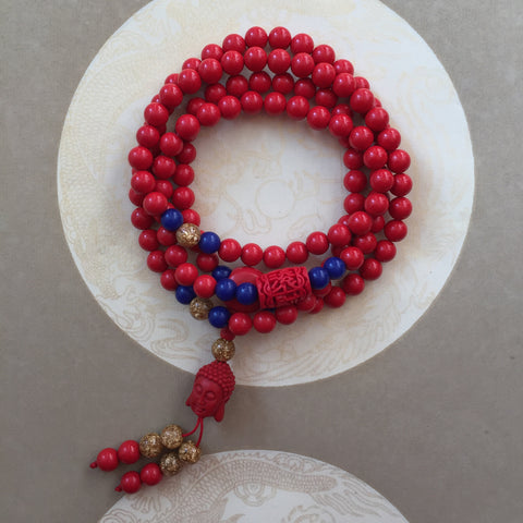 Buddha Red Cinnabar 108 Bead Mala Necklace, Red Stone Wrap Bracelet Wrist Mala - ZentralDesigns