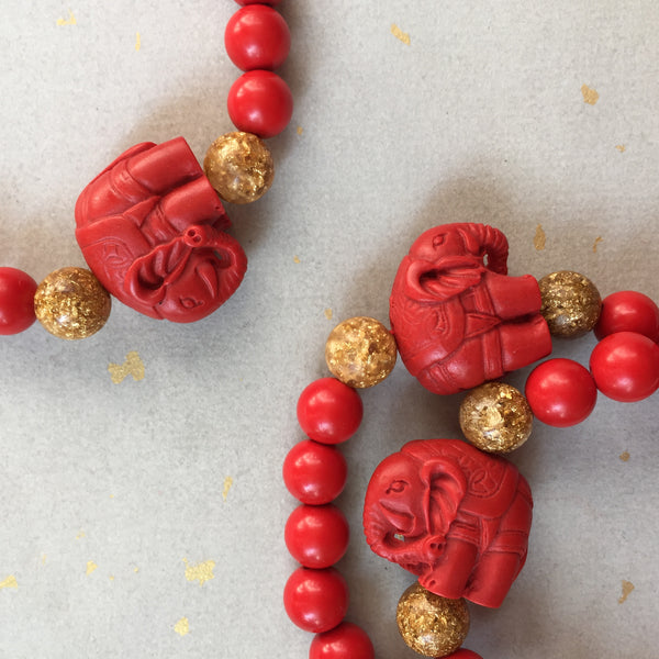 Carved Elephant Cinnabar Beaded Bracelet, Chinese Red Elephant Symbolism Bracelet - ZentralDesigns