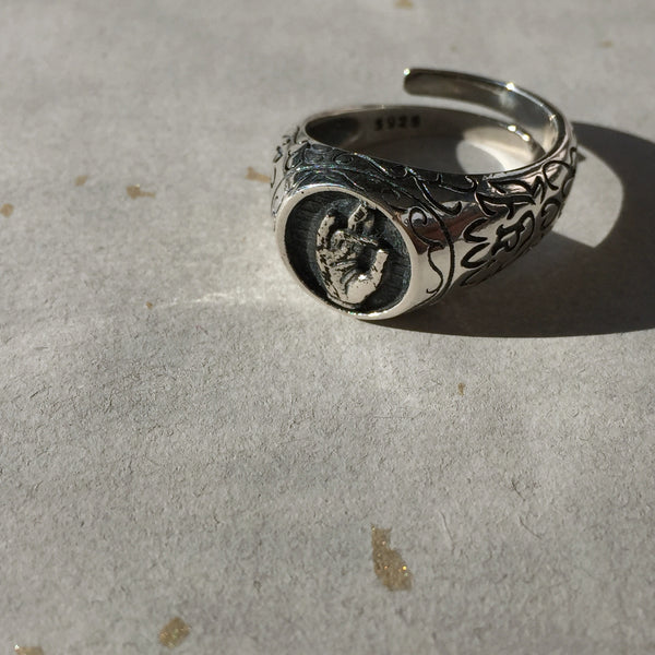 Guan Yin Bodhisattva Praying Hand Sterling Silver Ring, Tibetan Buddhism Ring - ZentralDesigns