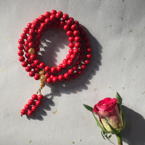 Red Cinnabar 108 Bead Mala Necklace, 108 Bead Mala Wrap Bracelet - ZentralDesigns