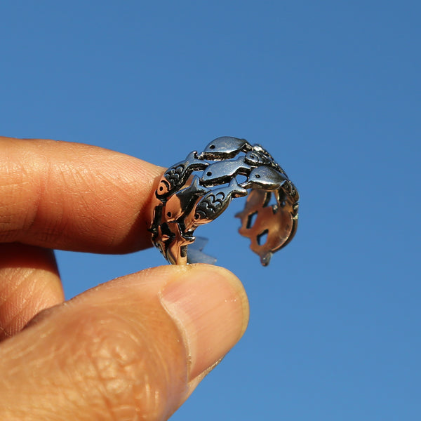 Cute Fish Adjustable Sterling Silver Ring, Traditional Chinese Love and Luck Ring