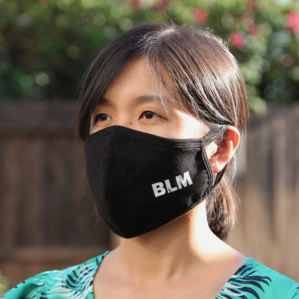BLM Reusable Cloth Face Mask Covering, Black Lives Matter Letter Logo 2-Layer Cotton Outdoor Mask