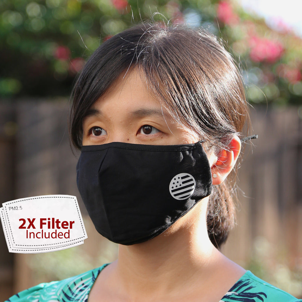 USA Flag Adjustable Washable Cloth Face Mask Covering, 2-Layer with 2 Extra Filters