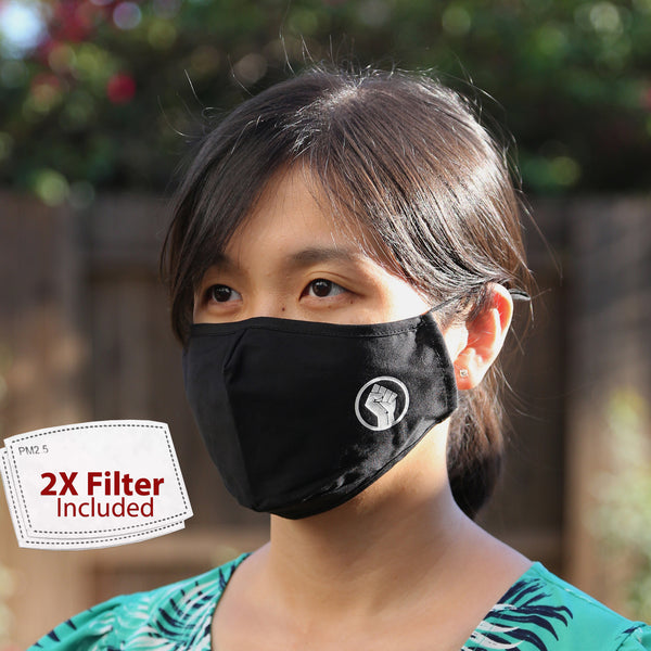 BLM Adjustable Washable Cloth Face Mask Covering, 2-Layer with 2X Extra Filters
