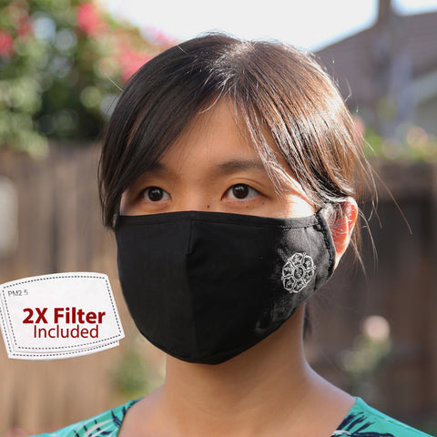 Zen Buddhism Adjustable Washable Cloth Face Mask Covering, 2-Layer with 2 Extra Filters
