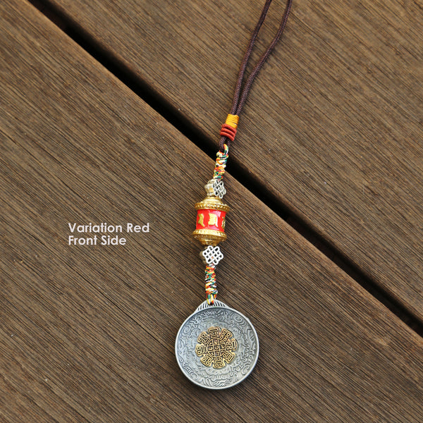 Colored Talisman & Prayer Wheel Protection Zipper Charm, Tibetan Style Keychain, Chinese Bagua Car Charm