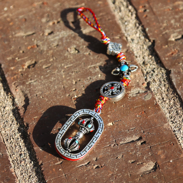 Spinning Tibetan Buddhist Vajra Protection Zipper Charm, Buddhism Rearview Mirror Charm, Tibetan Style Keychain Car Charm