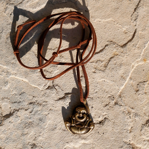 Tibetan Vintage Maitreya Future Buddha Adjustable Necklace, Protection Rear View Mirror Charm #19 - ZentralDesigns