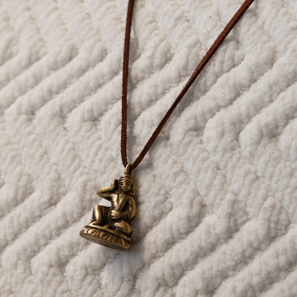 Vintage Tibetan Buddhist Adjustable Necklace, Protection Rear View Mirror Charm #18 - ZentralDesigns