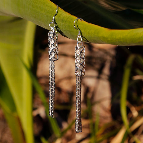 Lantern Boho Chic Dangle and Drop Sterling Silver Earrings, Bali Style Jewelry - ZentralDesigns
