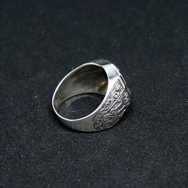 Glorious Buddha Sterling Silver Mens Ring, Tibetan Buddhist Prayers Ring, Mens Meditation Ring - ZentralDesigns