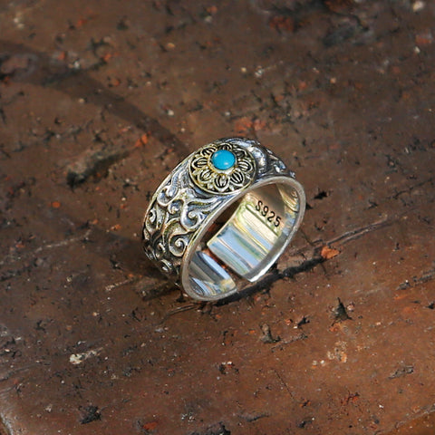 Vintage Style Embossed Auspicious Cloud Adjustable Sterling Silver Ring - ZentralDesigns