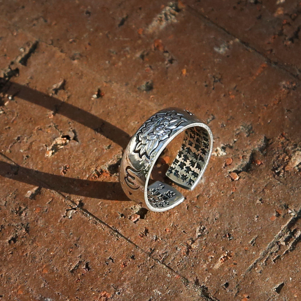 Lotus with Buddhist Prayers Adjustable Sterling Silver Ring, Tibetan Buddhism Ring - ZentralDesigns