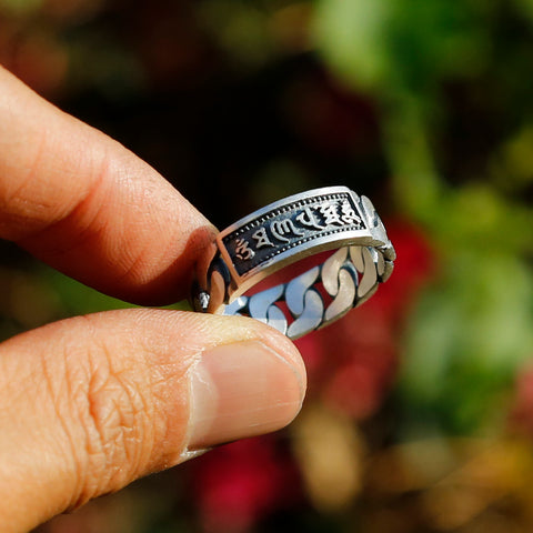 Chain-style Tibetan Prayers Symbols Buddhism Sterling Silver Ring, Buddhist Mens Ring - ZentralDesigns