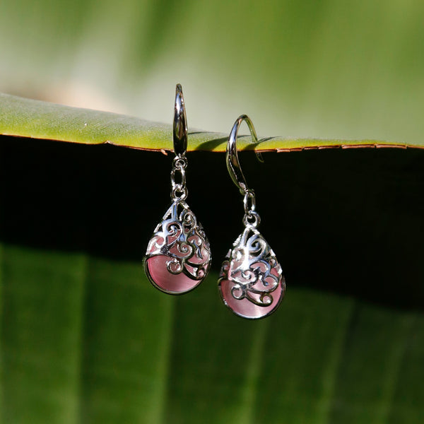 Pink Cat Eye Silver Boho Chic Dangle and Drop Earrings - ZentralDesigns