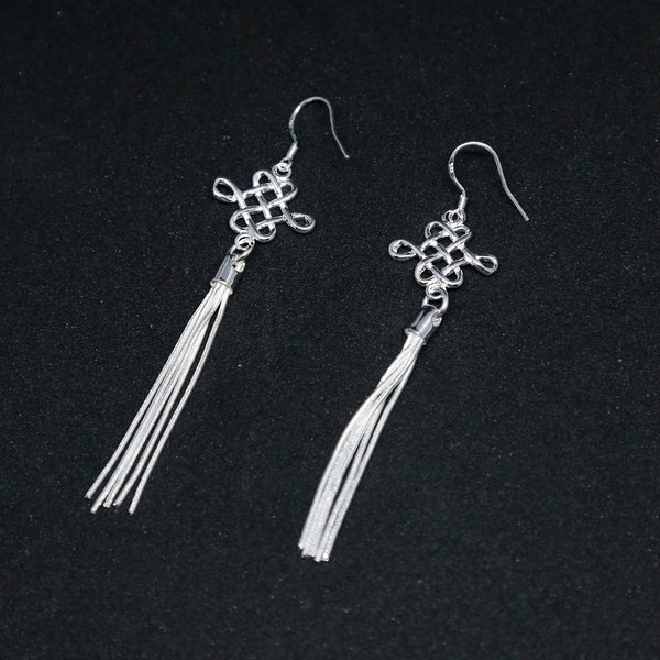 Chinese Lucky Knot Boho Chic Dangle and Drop Silver Earrings - ZentralDesigns