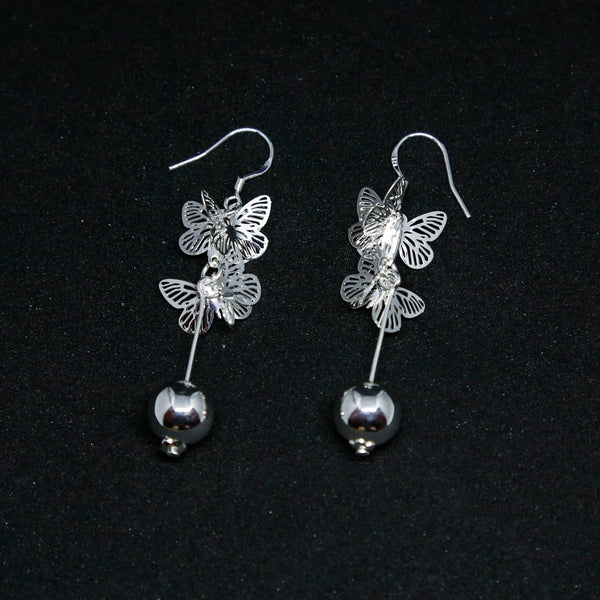 Butterfly Silver Boho Chic Dangle and Drop Earrings, Bali Style Jewelry - ZentralDesigns