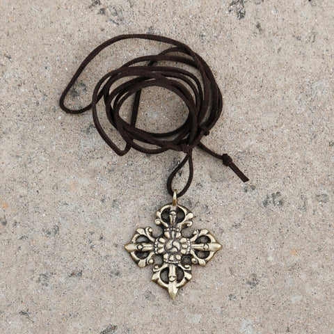 Adjustable Tibetan Buddhism Vajra Symbol Necklace, Buddhist Rear View Mirror Charm #24 - ZentralDesigns