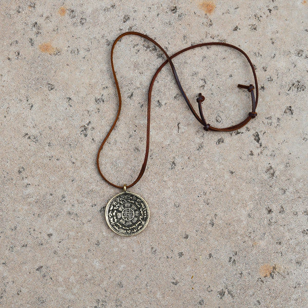 Adjustable Brass Talisman Protection Necklace, Brass Talisman Protection Rear View Mirror Charm #22 - ZentralDesigns