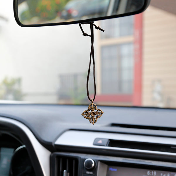Adjustable Vintage Style Tibetan Vajra Necklace, Tibetan Buddhist Rear View Mirror Charm #25 - ZentralDesigns
