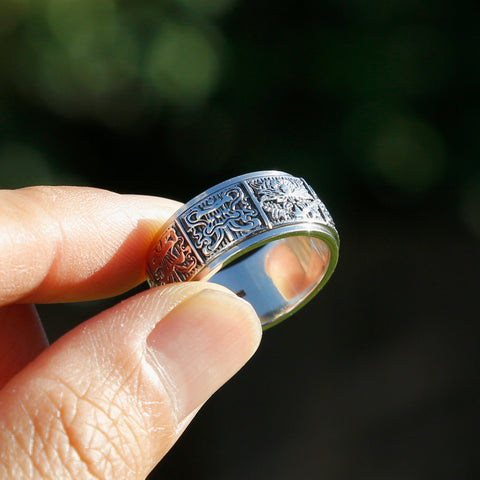 Embossed Tibetan Ashtamangala Sterling Silver Spinner Ring, Eight Auspicious Symbols Ring - ZentralDesigns