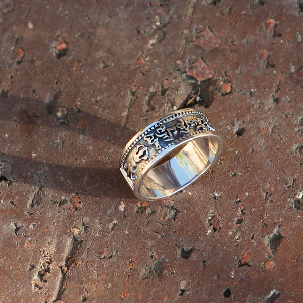 Tibetan Buddhist Prayers Vajra OM Silver Ring, Buddhism Symbols Mens Ring - ZentralDesigns