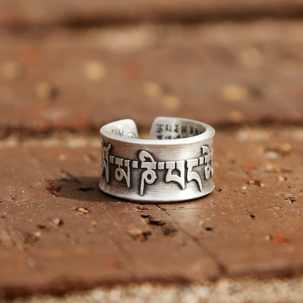 Vintage Style Tibetan Buddhist Prayers Adjustable Silver Ring, Buddhist Sutra Mens Ring - ZentralDesigns