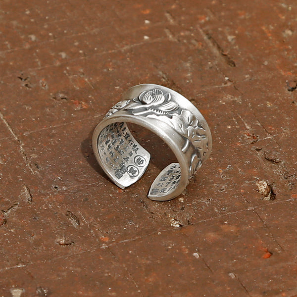 Vintage Style Engraved Lotus & Fish Adjustable Silver Ring, Buddhist Sutra Mens Ring - ZentralDesigns