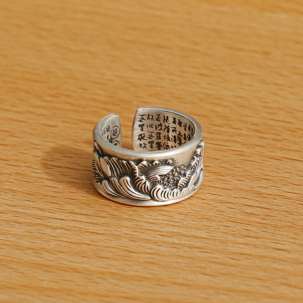 Vintage Style Engraved Peony Adjustable Silver Ring, Buddhist Sutra Mens Ring - ZentralDesigns