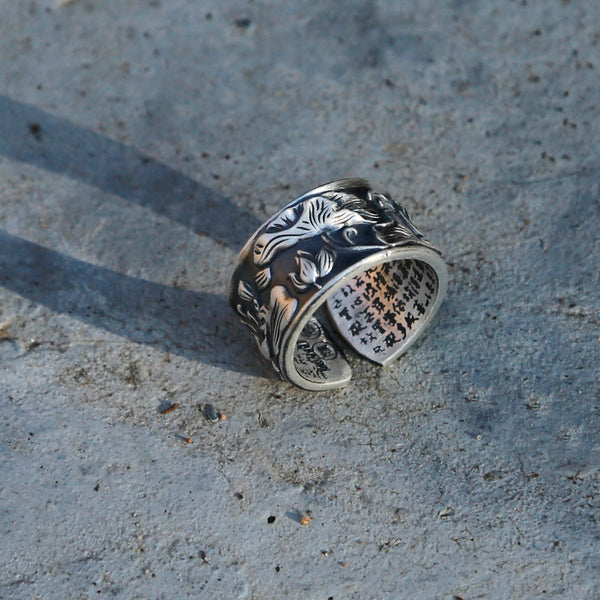 Vintage Style Engraved Lotus Adjustable Silver Ring, Buddhist Sutra Mens Ring - ZentralDesigns
