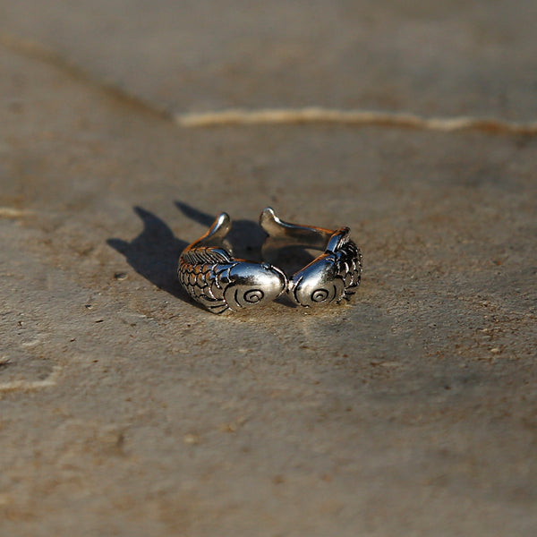 Kissing Fish Adjustable Sterling Silver Ring, Traditional Chinese Love and Luck Ring - ZentralDesigns