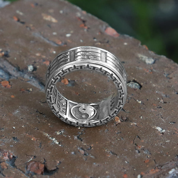 Yin Yang Sterling Silver Mens Spinner Ring, Chinese Taoist Ba Gua Meditation Ring - ZentralDesigns