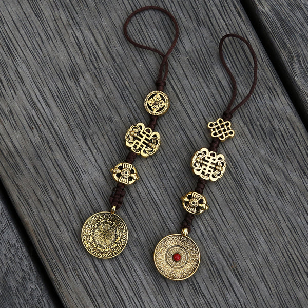 Brass Color Talisman Protection Zipper Charm, Tibetan Style Keychain, Chinese Bagua Car Charm - Small - ZentralDesigns
