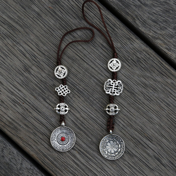 Silver Color Talisman Protection Zipper Charm, Tibetan Style Keychain, Chinese Bagua Car Charm - Small - ZentralDesigns