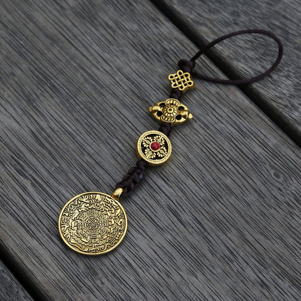 Brass Color Talisman Protection Zipper Charm, Tibetan Style Keychain, Chinese Bagua Car Charm - Medium - ZentralDesigns