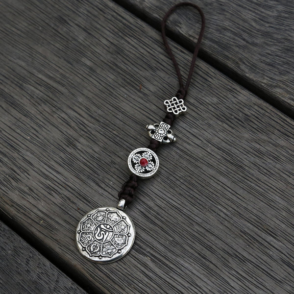 Silver Color Talisman Protection Zipper Charm, Tibetan Style Keychain, Chinese Bagua Car Charm - Medium - ZentralDesigns