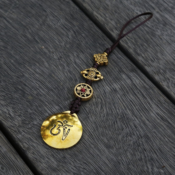Brass Color Talisman Protection Zipper Charm, Tibetan Style Keychain, Chinese Bagua Car Charm - Large - ZentralDesigns