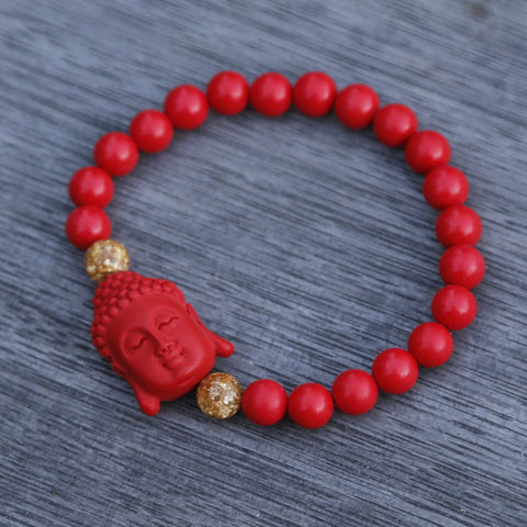 Buddha Charm Red Cinnabar Beaded Bracelet - ZentralDesigns