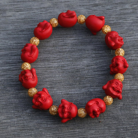 Maitreya Future Buddha Red Cinnabar Beaded Bracelet - ZentralDesigns