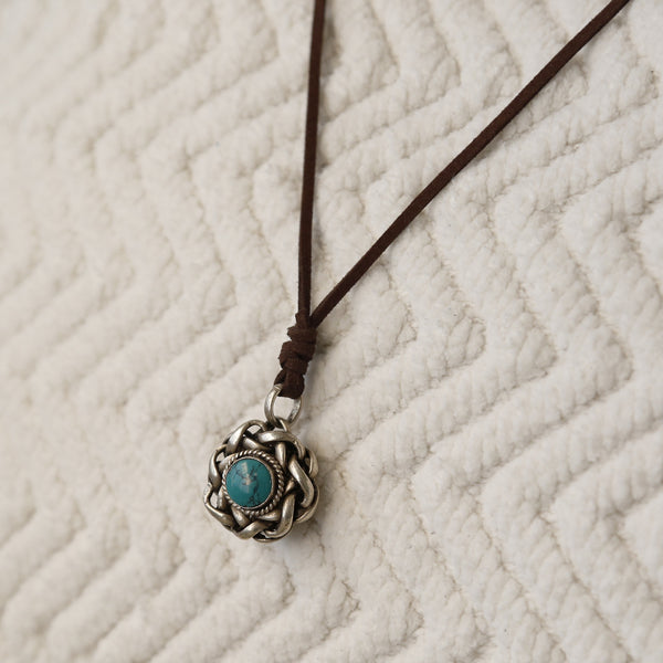 Nepal Vintage Turquoise Cabochon Protection Adjustable Necklace, Rear View Mirror Car Charm #8 - ZentralDesigns