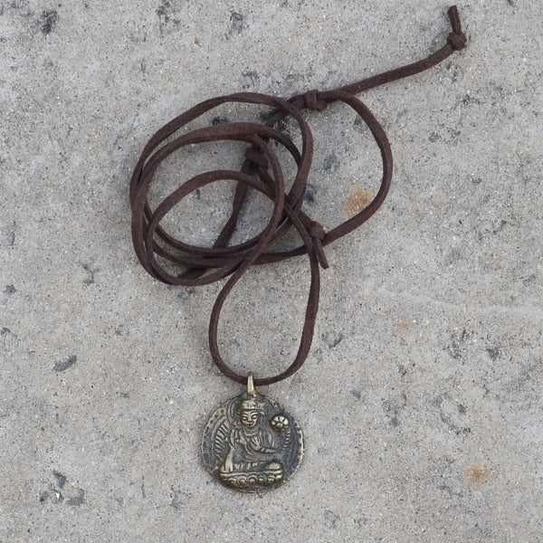 Tibetan Manjushri Round Pendant Necklace, Rear View Mirror Charm #10 - ZentralDesigns