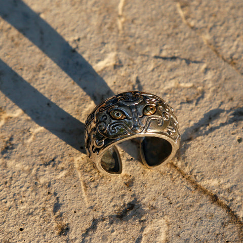 "Chinese Mythical Symbol ""Taotie"" Adjustable Sterling Silver Ring, Traditional Masculine Mens Ring - ZentralDesigns"