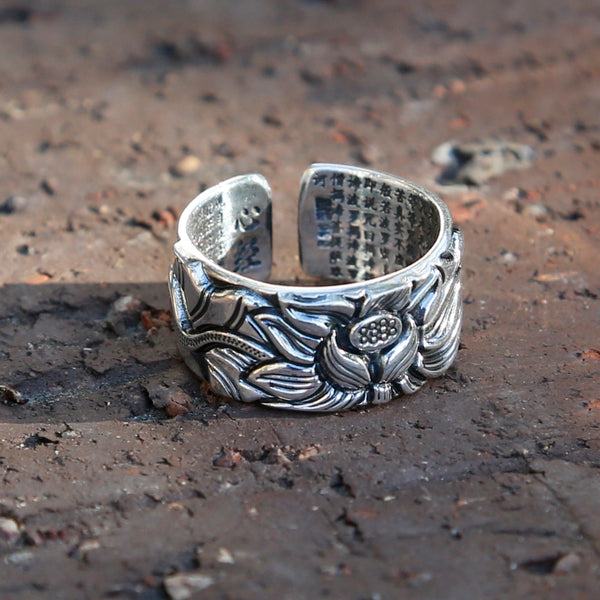 Embossed Lotus with Buddhist Sutra Adjustable Sterling Silver Ring, Tibetan Buddhist Ring, Meditation Ring - ZentralDesigns