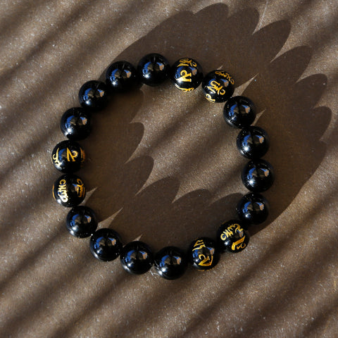 Buddhist Prayers Black Onyx Mens Beaded Bracelet, Tibetan Buddhism Prayers Mala Bracelet - ZentralDesigns