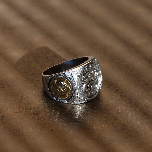 Buddhist Symbols and Praying Hands Sterling Silver Ring, Tibetan Buddhist Prayer Ring - ZentralDesigns