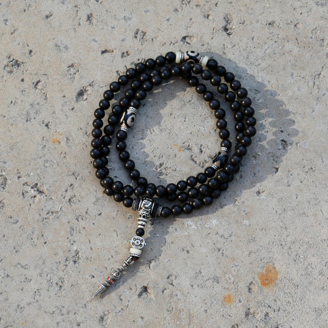 Tibetan Buddhist 108 Bead Mala Black Wood Necklace, Vintage 108 Bead Mala Wrap Bracelet - ZentralDesigns