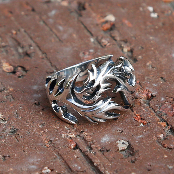 Dragon Adjustable Sterling Silver Mens Ring, Traditional Chinese Meditation Ring - ZentralDesigns