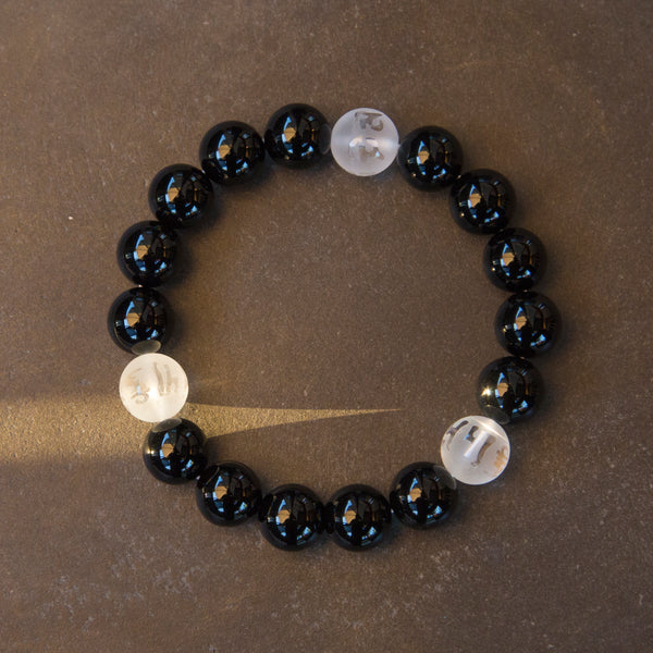Black and White Tibetan Buddhist Prayers Symbols Beaded Bracelet, Black Onyx and Quartz Mala - ZentralDesigns