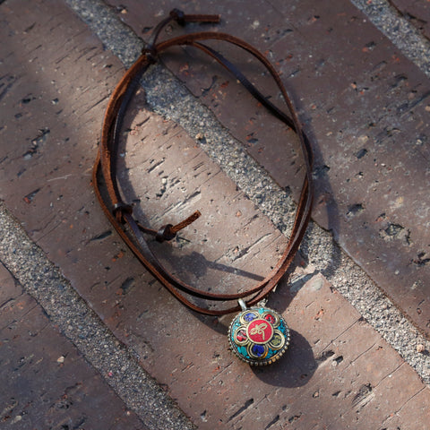 Nepal Vintage Ethnic Pendant Turquoise Necklace, Adjustable Tibetan Buddhist Symbol Necklace #15 - ZentralDesigns