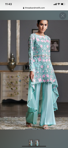 Threads n motifz 3 piece suit formal light blue medium